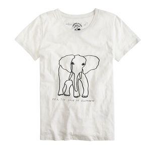 "J.Crew ""For the Love of Elephants"" White T-shirt"